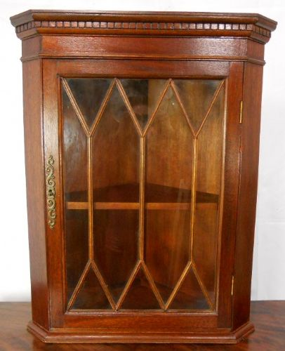Small Hanging Mahogany Corner Cupboard